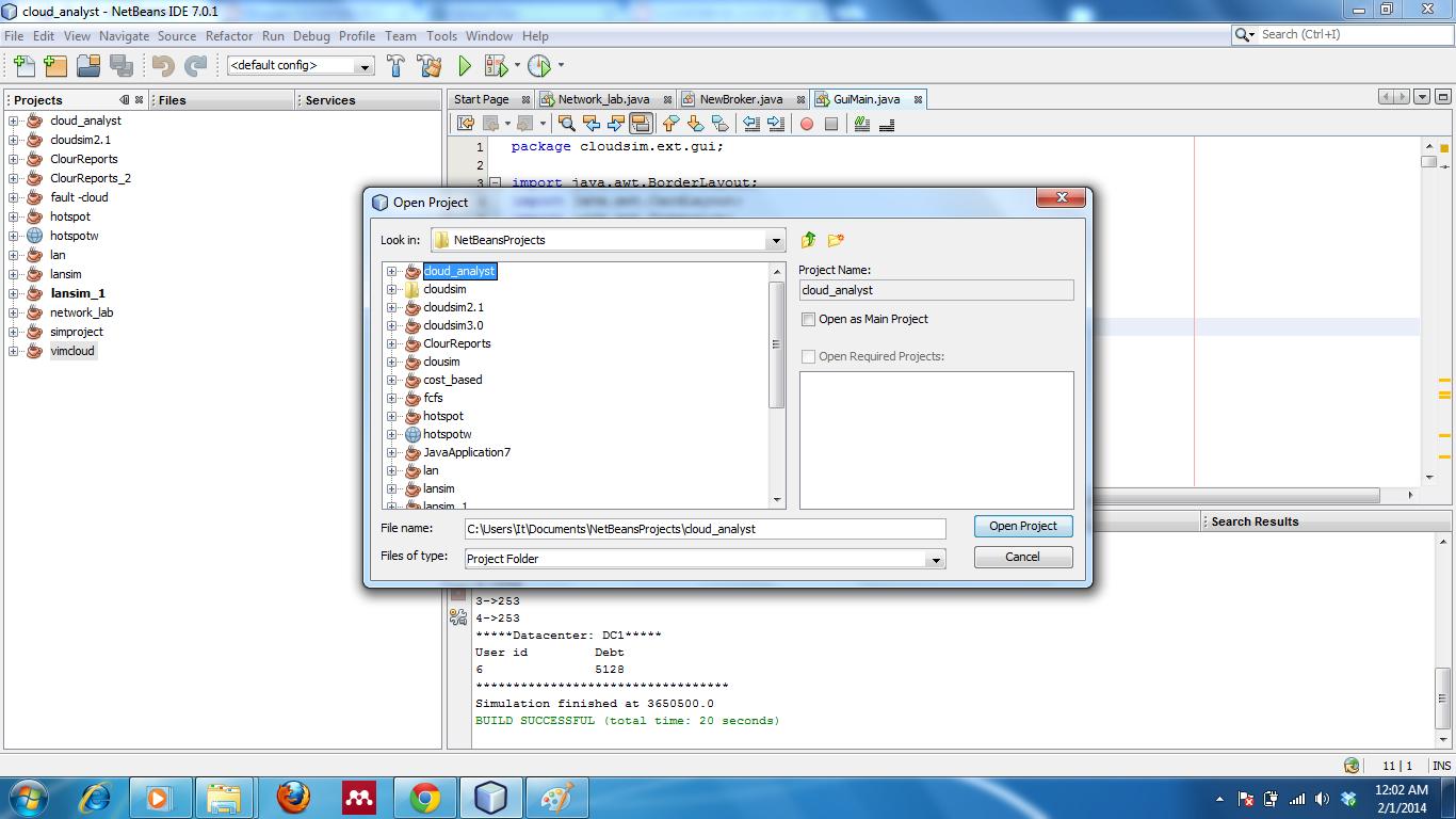 Cloud Analyst setup in Netbeans - E2MATRIX RESEARCH LAB
