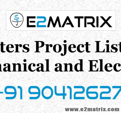 Masters Project List for Mechanical (ME) and Electrical (EEE)